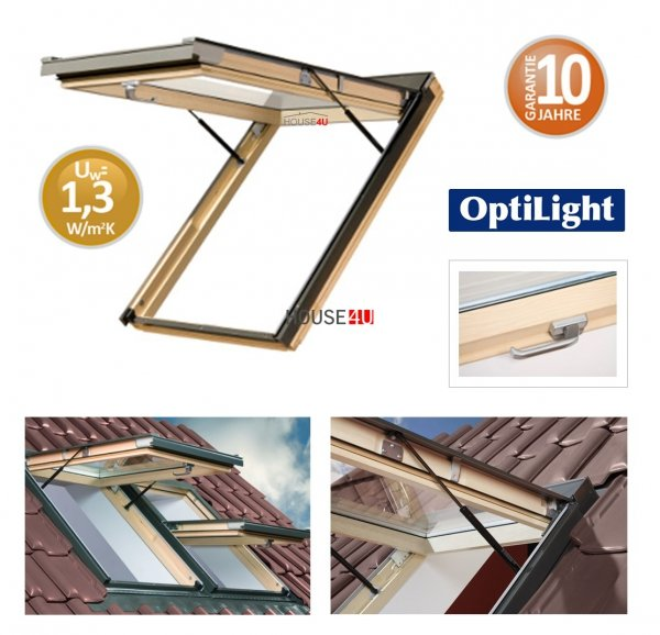 Dachfenster OptiLight VK Klapp-Dachfenster mit Klappfunktion aus Holz www.house-4u.de