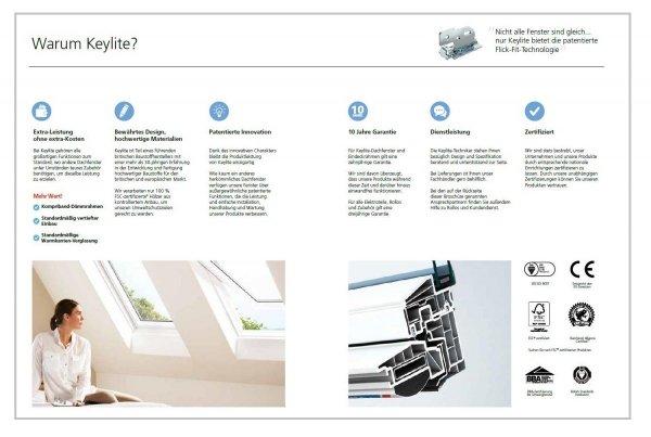 Dachfenster Keylite Polar PVC PCP KTG Schwingfenster aus Kunststoff mit Wärmedämmblock Weiß PVC 3-fach-Verglasung  Uw=1,0 Krypton Triple Glass