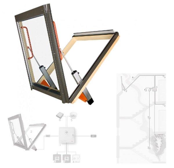 FAKRO Rauch- und Wärmeabzugsfenster FSP P1 Rauchabzugsfenster Holz: natur