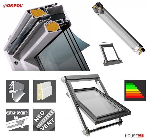 Dachfenster OKPOL IGOV N22 PVC 78x118 78x140 Schwingfenster Kunststoff 3-Scheiben Uw=0,83 Energiesparende