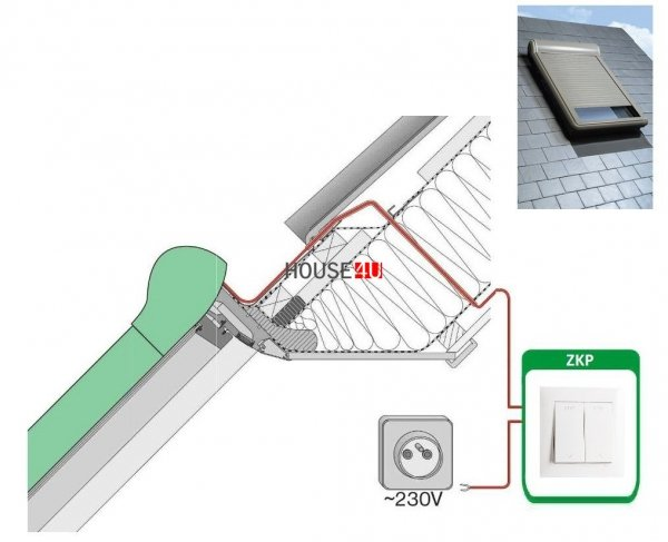 Außenrollladen Fakro ARZ Electro 230 V mit Wandschalter www.house-4u.eu