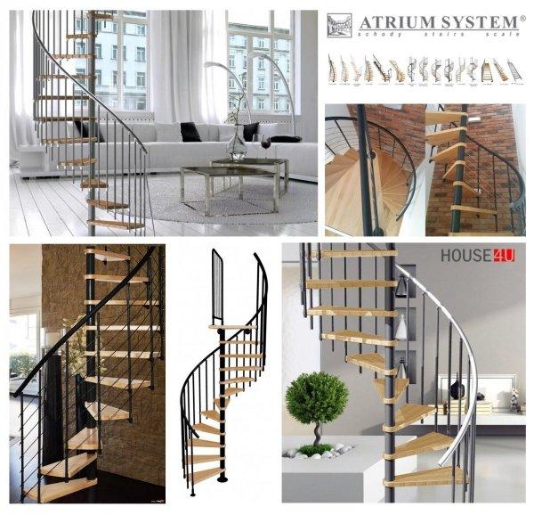 Spindeltreppe Atrium Novo Ø140 Weißaluminium 11 stufen Buche natur + Plattform