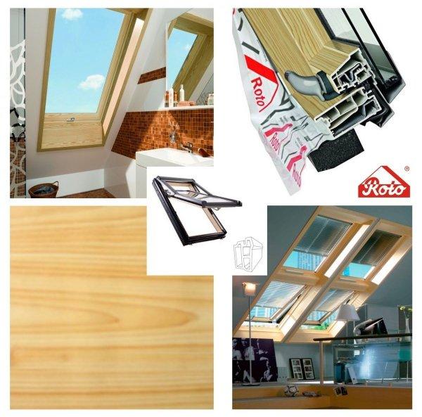 Dachfenster Roto Designo R7 R79 K PVC-Kiefernfurnier KK 3-fach-Verglasung Uw-Wert 1,1 ENERGIE Kunststoff PVC mit Wärmedämmblock