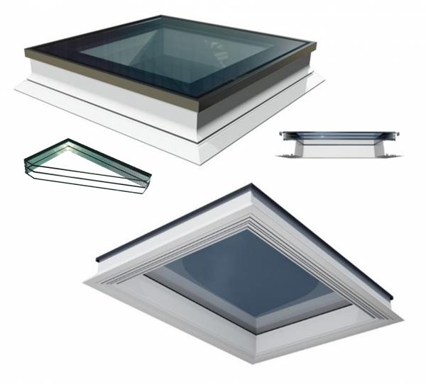 Flachdach-Fenster OKPOL PGX B1 3 Scheiben PVC Festverglastes Uw=0,7 W/m²K/ Flachverglasung 3-fach