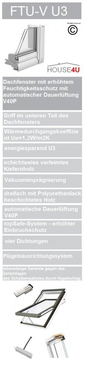 Dachfenster Fakro FTU-V Z-Wave U3 Schwingfenster Holz weiß lackiert wie Kunstoff www.house-4u.eu
