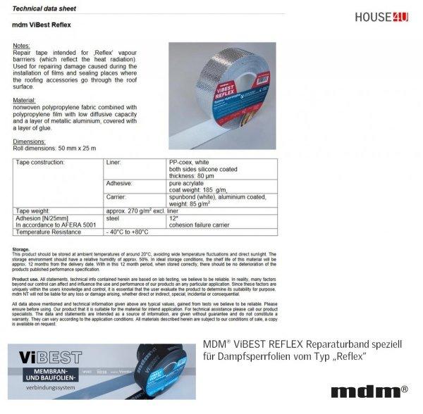 """MDM® ViBEST REFLEX Reparaturband speziell für Dampfsperrfolien vom Typ """"Reflex"""""""
