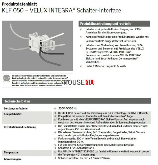 VELUX INTEGRA® Schalter-Interface (KLF 050) system io-homecontrol® - Produkten