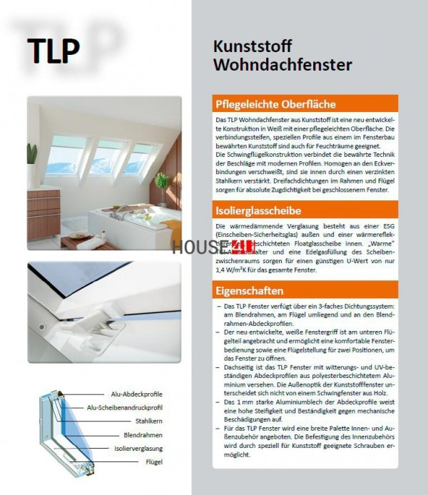 Dachfenster OPTILIGHT TLP Kunststofffenster PVC Schwingfenster www.house-4u.eu