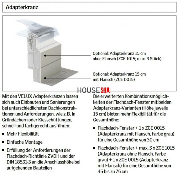 VELUX ZCE 1015 Adapterkranz 15 cm mit Flansch www.house-4u.de