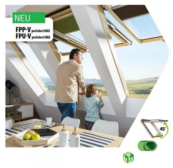 Dachfenster Fakro FPU-V U3 MAX Klapp-Schwingfenster Uw=1,3 W/m²K aus weiß lackiertem Holz PU-Kunststoff-Lack / Polyurethan-Kunststofflack, , 2-fach-Verglasung mit Riesen-Öffnungswinkel Standard 0–45, Öffnungswinkiel zwischen 0–45
