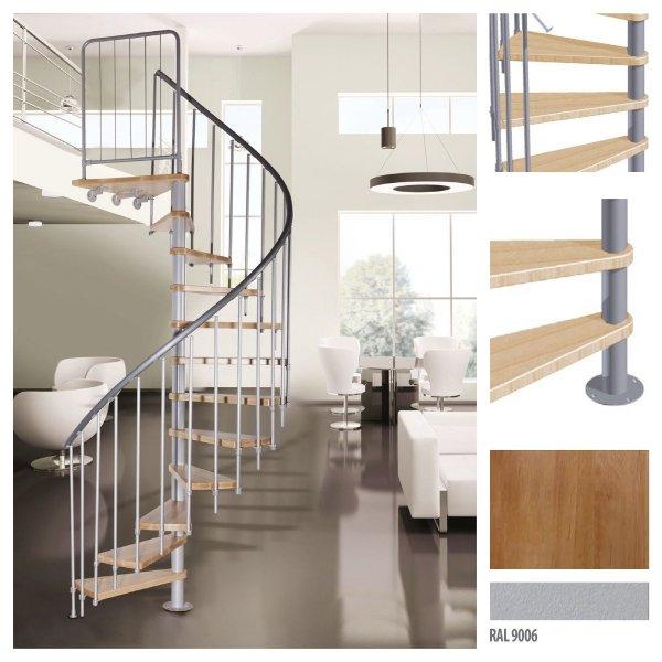 Spindeltreppe Atrium Novo Ø120 Weißaluminium 11 stufen Buche natur + Plattform