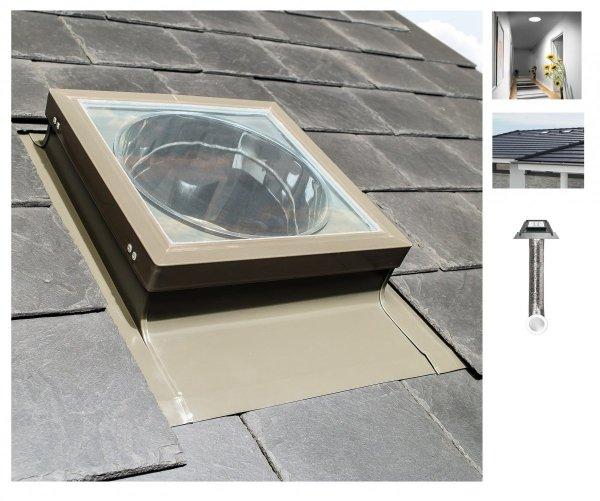 FAKRO Tageslicht-Spot SFL ∅ 350 550 mm für flache Schichtstücke mit flexiblem Rohr mit Eindeckrahmen - Flachglaskuppel
