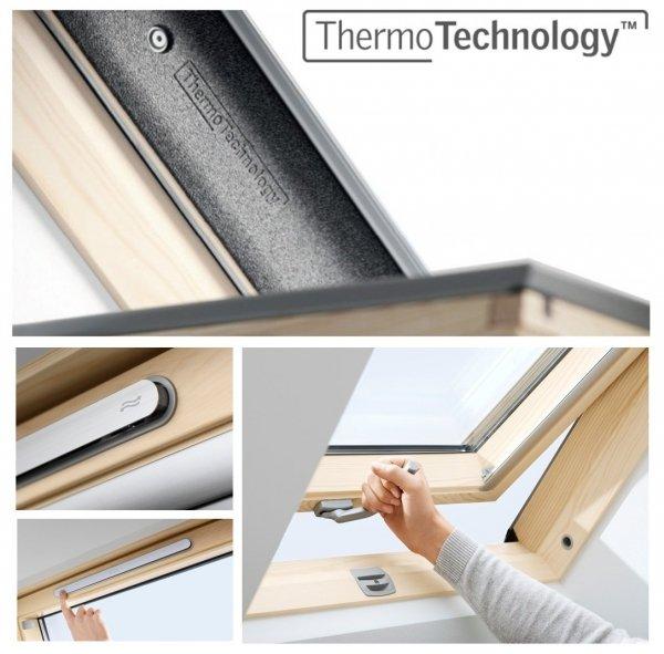 VELUX Dachfenster GZL 1051B Schwingfenster aus Holz Boden Griff Uw= 1,3 Thermo 2-Fach-Veglasung Holz klar lackiert VELUX Neue Generation