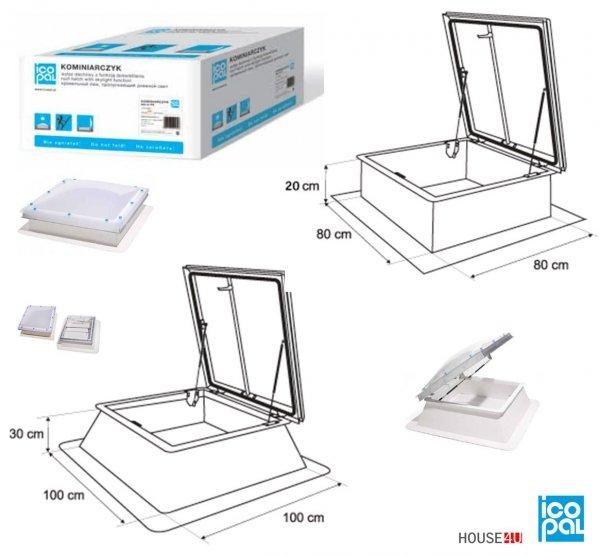 Flachdach-Ausstiegsfenster Icopal Kominarczyk 80x80 x20cm  100x100 x30cm Manuell betätigt - zweischichtig =2,6 Wm2K Dachluke Dachfläche