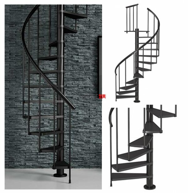 OUTLET: Spindeltreppe Dolle Calgary - Ø 140 - 280,80 cm 11 Stufen Anthrazit
