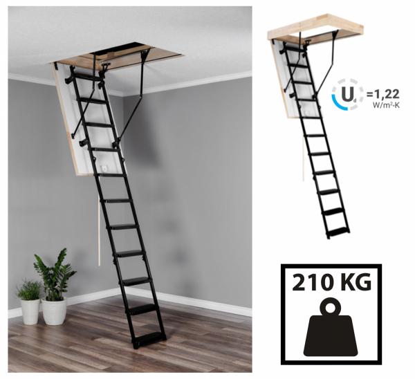 Bodentreppe OMAN  Dachbodentreppe mit Metallleiter  U=1,22 max Belastung von 210 kg weiße Öffnungsklappe Raumhöhe 280