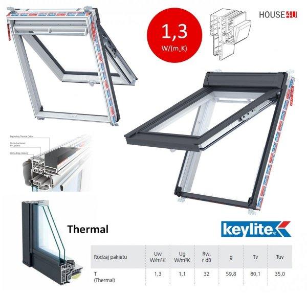 Dachfenster Keylite Polar PVC Klapp-Schwingfenster PTH PFE Thermal Uw=1,3 weiß Kunststoff 2-Fach Verglasung