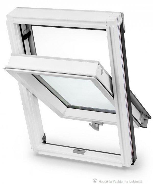 Dachfenster Schwingfenster KEYLITE BW KTG 3-fach-Verglasung Uw=1,1  Dachfenster aus Holz: Weiss lackiert, lackiert polyurethan weiß farbe / untere Griff