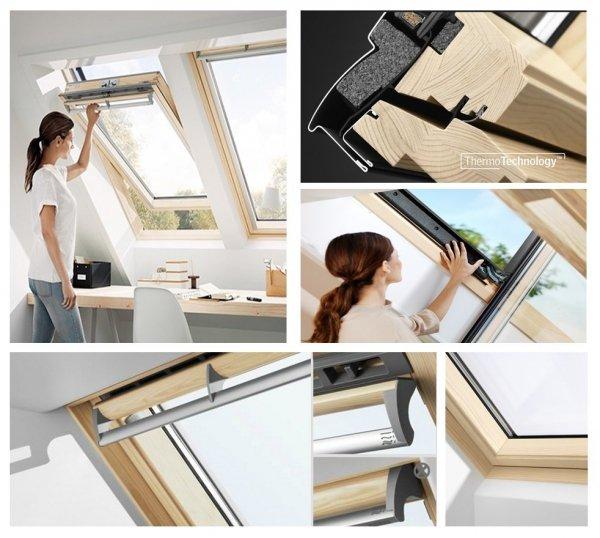 Dachfenster VELUX GGL 3068 ENERGIE 3-fach-Verglasung Schwingfenster aus Holz klar lackiert Uw=1,1 Aluminium / mit Obenbedienung