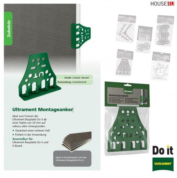 Montageanker Ultrament Do-it Zur schnellen Verbindung und Fixierung der Bauplatte - Do it ab einer Stärke von 20 mm sowie der Ultrament Rohrkästen, X-Board, Bauplatte Flexplatte Qboard Fliesenbauplatte
