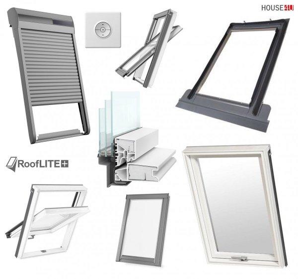 Rooflite Dachfenster-Set: PVC Kunstoff 3-fach Schwingfenster mit Außenrollladen Solar-Rollladen und Eindeckrahmen, Trio PVC 3-fach-Verglasung Uw= 1,1