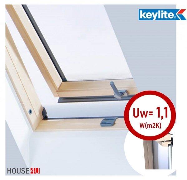 Dachfenster Schwingfenster KEYLITE BW Pine 3-fach-Verglasung ATG Uw=1,1 Dachfenster aus Holz, Kiefernholz klar lackiert / Boden-Griff, Mikrobelüftungsfunktion, Aluminium, lackiert, RAL 7043 house-4u.de