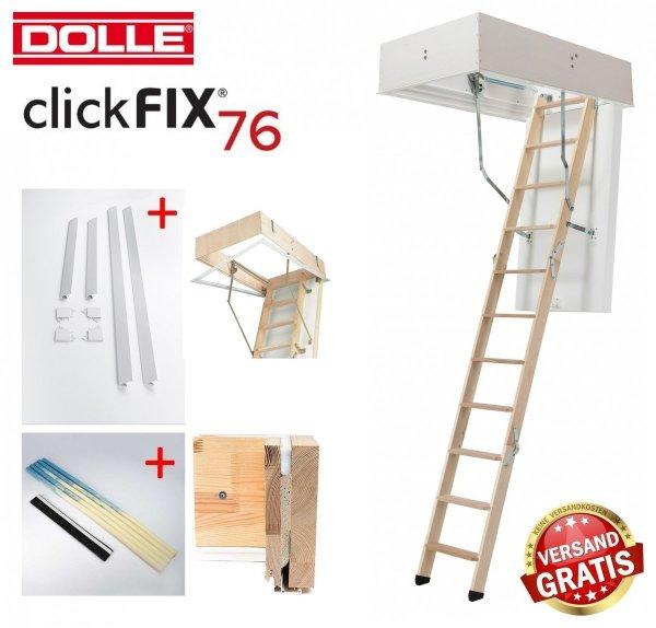 OUTLET: Bodentreppe Dolle ClickFIX 76 60x120 GOLD U= 0,49 Super-thermoisolierte  Click-fix 3-teilig mit Handlauf Versand 48H