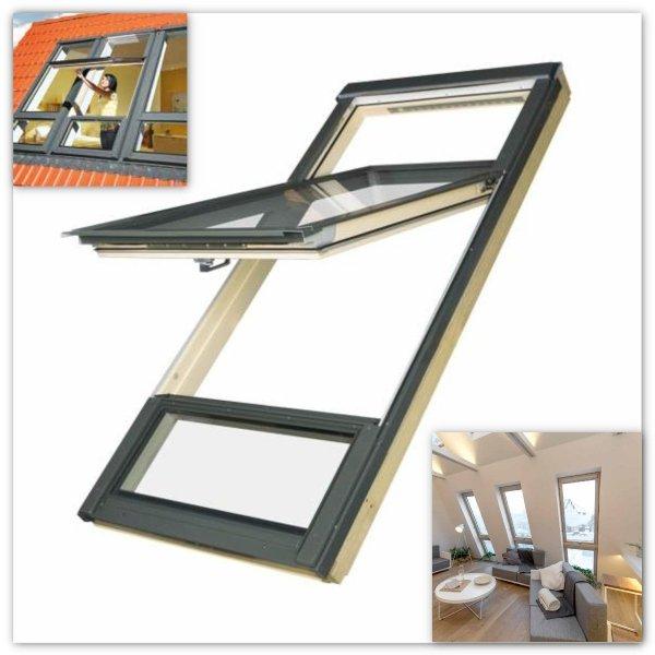 Dachfenster Fakro FDY-V Duet proSky Fenster Mit Höher Versetzter Schwingachse und Unterem Festelement www.house-4u.de