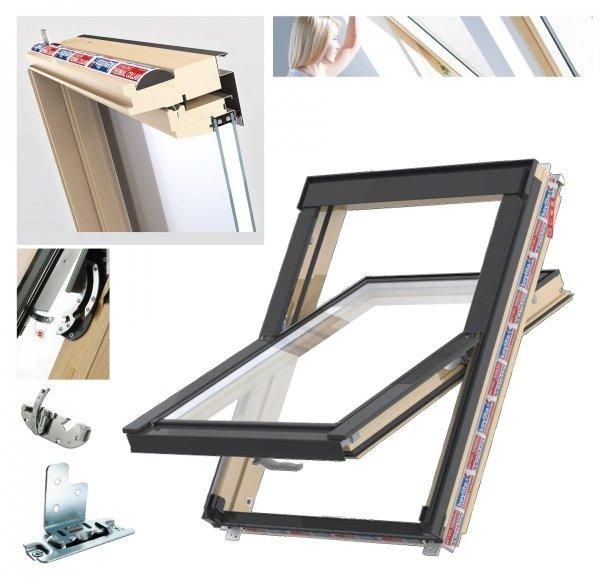 Dachfenster Schwingfenster Keylite FF+ CP T Thermal 2-fach-Verglasung Thermal Uw=1,2 Dachfenster aus Holz: klar lackiert Boden-Griff