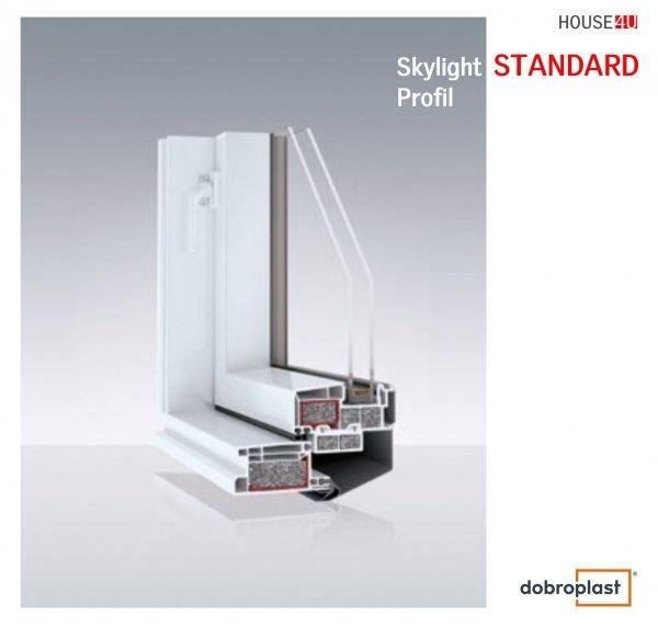 Ausstiegsfenster Dobroplast PVC Skylight Loft 55X78 TERMO TGI Uw= 1,3 Dachausstieg aus Kunststoff, Profile in Weiß PVC Standard / Premium, Dachluken - Dachausstieg - Dachluke - Dachfenster, 7043 8019 RAL, Öffnung: nach Rechts / Links
