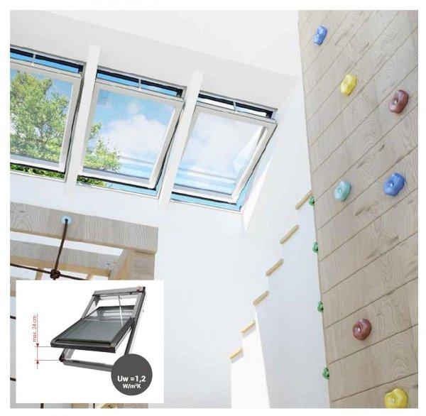 DACHFENSTER OKPOL Elektrofenster IGC1V I22 Uw= 0,9 Schwingfenster Kunstoffenster PVC Profile in Weiß / Automatische Fenstern mit elektrischem Stellantrieb - Fernbedienung / 3-Fach-Verglasung
