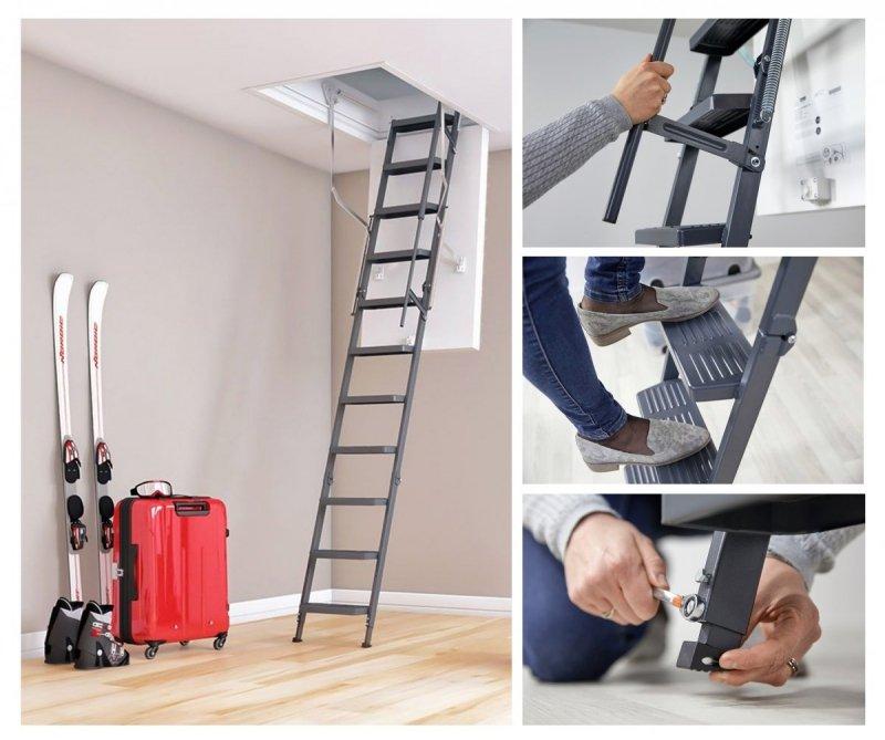 bodentreppe dolle clickfix comfort u 49 super thermoisolierte click fix 3 teilig mit handlauf. Black Bedroom Furniture Sets. Home Design Ideas