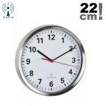 Zegar ścienny TFA 60.3529 wskazówkowy sterowany radiowo płynąca wskazówka aluminium szkło średnica 22 cm
