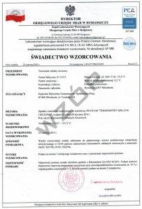Świadectwo wzorcowania wiatromierza, anemometru SW-6-PCA rejestratora prędkości wiatru z akredytacją PCA