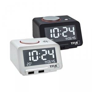 TFA 60.2017 HOMETIME budzik biurkowy zegar elektroniczny z termometrem i ładowarką USB