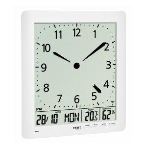 TFA 60.4515 zegar elektroniczny ścienny biurowy sterowany radiowo z termohigrometrem język polski duży 24 cm