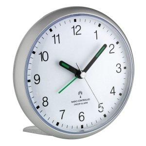 TFA 60.1506 budzik biurkowy zegarek wskazówkowy płynąca wskazówka sterowany radiowo