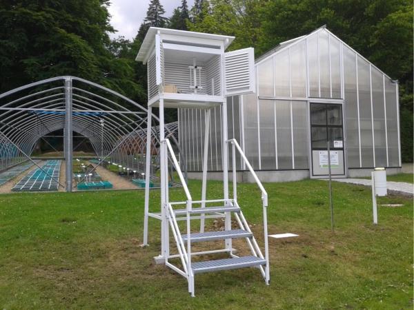 Klatka meteorologiczna Stevensona standardowa IMGW duża + stojak metalowy + schody metalowe