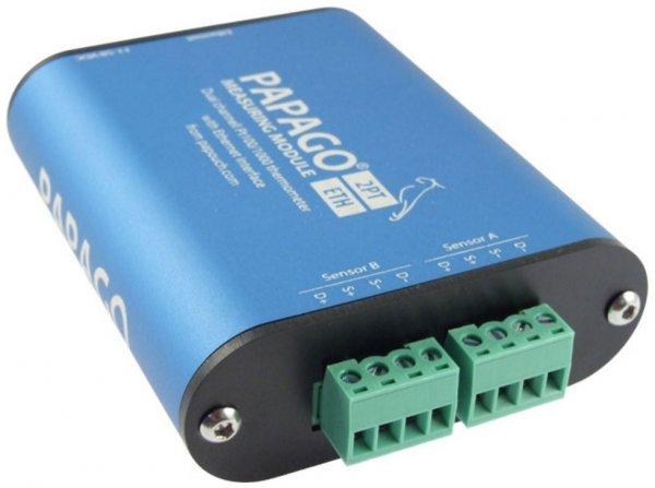 Papouch 2PT_ETH PAPAGO moduł pomiarowy internetowy dwukanałowy zasilanie PoE, Pt100, Modbus TCP, Ethernet, LAN, IP
