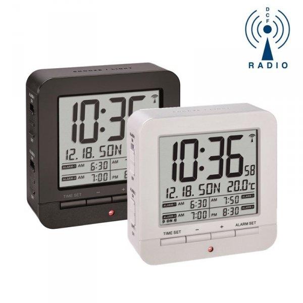 TFA 60.2536 budzik biurkowy zegar sterowany radiowo z termometrem 4 alarmy