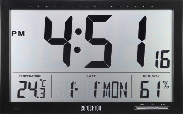 Eurochron 404664 JUMBO Zegar elektroniczny ścienny biurowy sterowany radiowo z termohigrometrem duży 37 cm