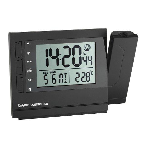 TFA 60.5008 budzik biurkowy zegar elektroniczny sterowany radiowo z termometrem i projektorem