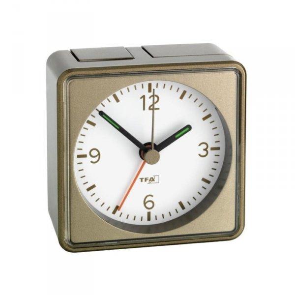 TFA 60.1016 PUSH budzik biurkowy zegar wskazówkowy płynąca wskazówka
