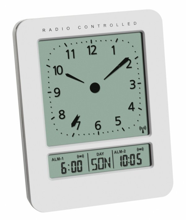 Budzik zegar biurkowy TFA 60.2530 z termometrem i kalendarzem w języku polskim