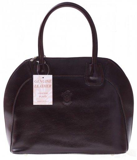 Torebka skórzana Włoski kuferek Genuine Leather Czekolada