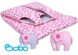 Śpiworek dla dziecka od 2 do 5 lat różowe serduszka