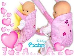 Nosidełko BOBO na szelkach różowa kratka