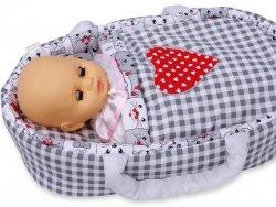 Nosidełko BOBO z aplikacją dla lalki do 45 cm szara krata z sercem i kotkami