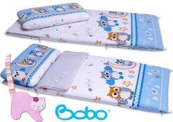 Śpiwór 155x70 cm zima/lato niebieski w sowy
