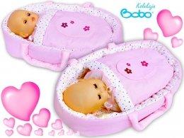 Nosidełko z aplikacją dla lalki do 45 cm różowe paseczki